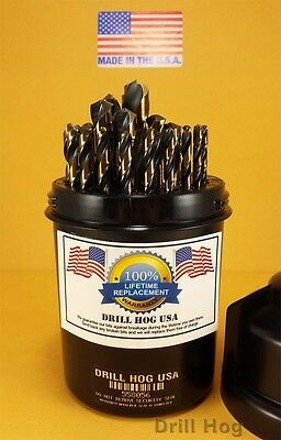 Drill Hog 29 Pc Drill Bit Set Index Molybdenum M7 MADE IN USA Lifetime Warranty