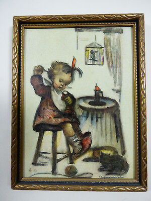 """VTG Hummel Framed Print Picture Frame Mother's Helper W. Germany 5.75"""" x 4.5"""""""