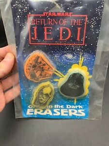 Star-Wars-GLOW-IN-THE-DARK-ERASERS-Set-Of-3-RETURN-OF-THE-JEDI-1983-SEALED-NEW
