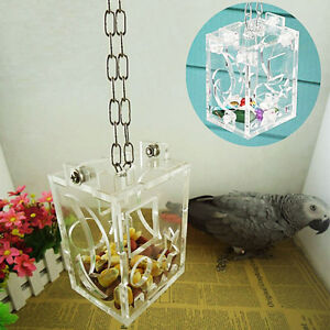 1xClear-Birds-Foraging-Toys-Funny-Parrot-Cage-Food-Snack-Pet-Feeding-Acrylic-Box