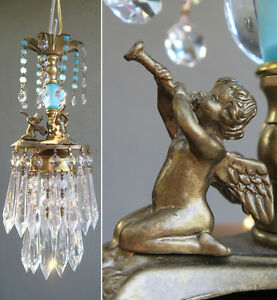 Vintage baby room chandelier swag lamp cherub trumpet crystal brass image is loading vintage baby room chandelier swag lamp cherub trumpet aloadofball Choice Image