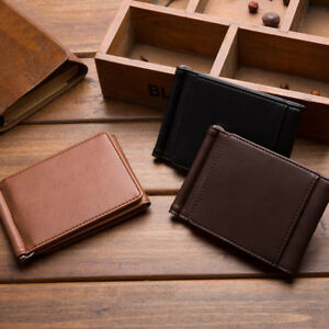 AM-EE-UK-Solid-Color-Faux-Leather-Trifold-Money-Cash-Clip-Wallet-Card-Holder