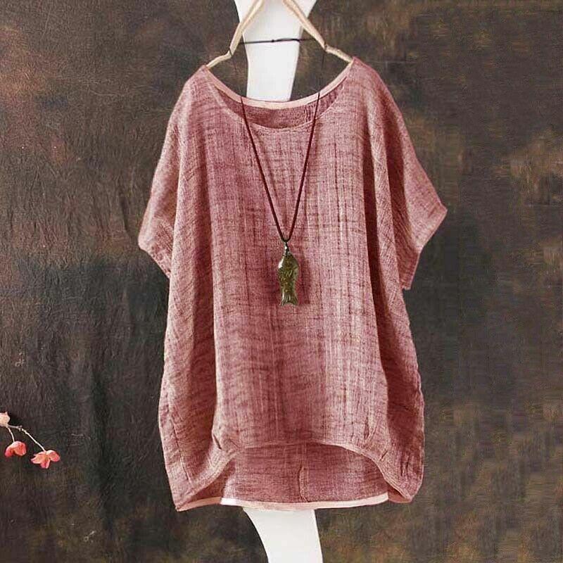 Plus Size Loose Linen Shirt Blouse Pullover Solid Color Dress for Women