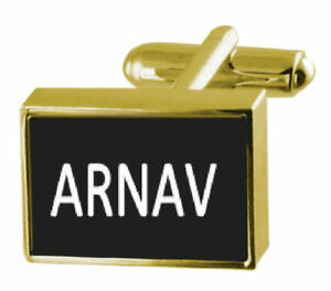 Honig Graviert Kiste Goldton Manschettenknöpfe Name - Arnav
