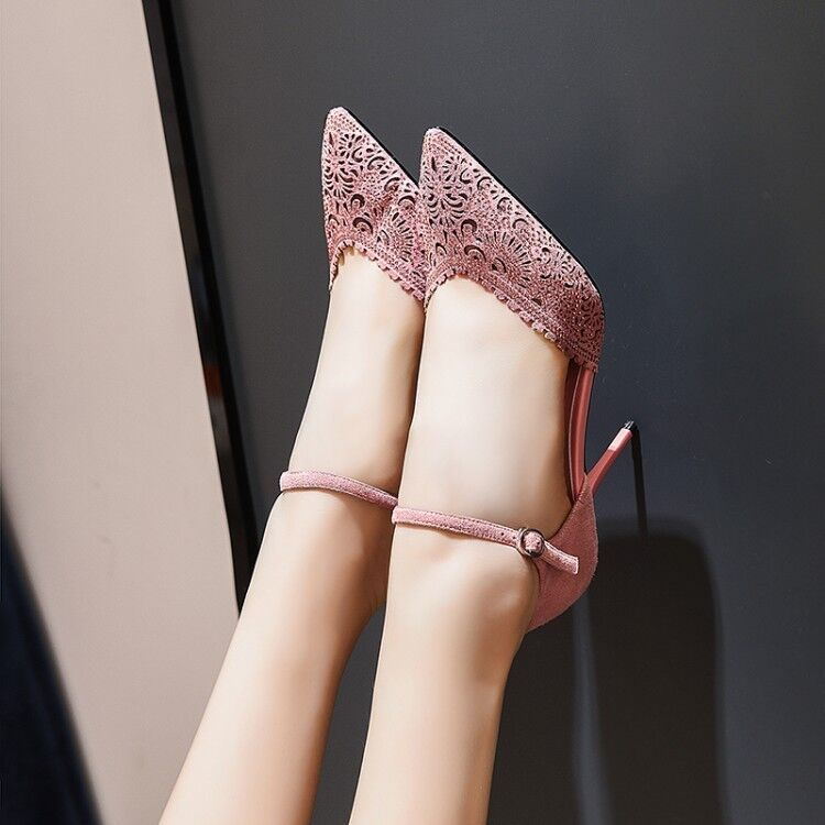 Women Women Women Slim High Heel Pointed Toe Buckle Sandals Ankle Strap Floral Hollow shoes 0e7a32