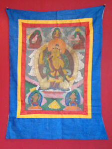 Antik-Original-handbemalt-Thangka-Thanka-Tibet-Asien