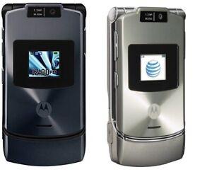 Motorola-RAZR-V3XX-Gray-Silver-AT-amp-T-GSM-Flip-Phone