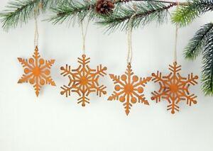 Schneeflocken-4er-SET-Rostoptik-Dekohaenger-Advent-Weihnachtsdeko-Wanddeko-Metall