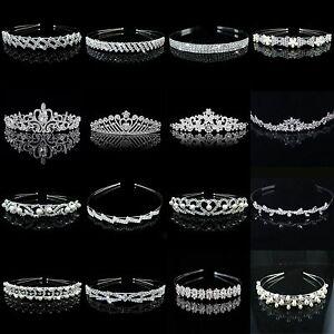 Bridal Princess Rhinestone Crystal Hair Tiara Wedding Crown Veil Headband Silver