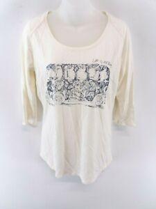 FAT-FACE-Womens-T-Shirt-Top-M-Medium-White-Cotton-amp-Modal-3-4-Sleeve