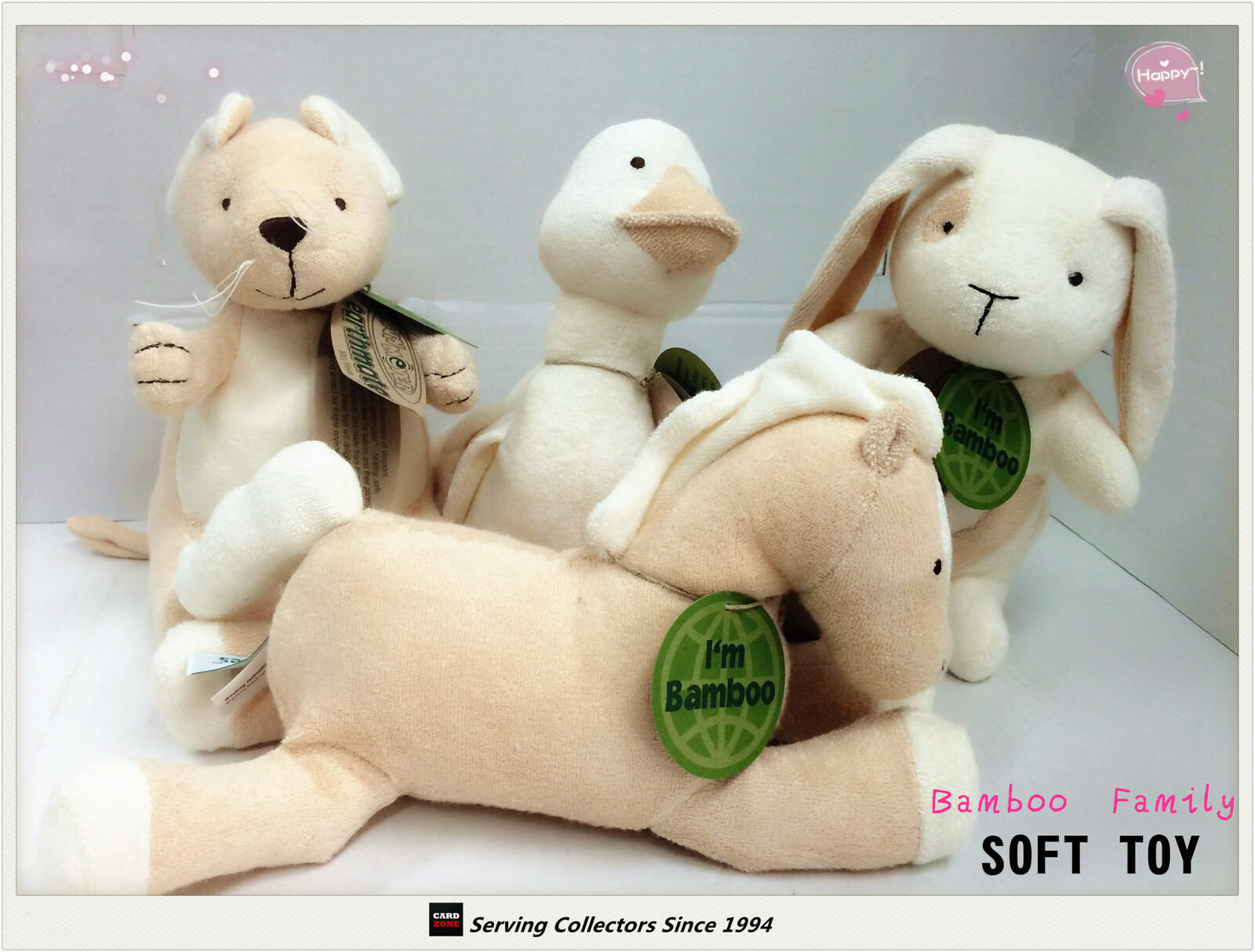 6 SETS OF Bamboo Plush Soft Toys 8 -9  FAMILY of 4--Top quality  (24 in total)