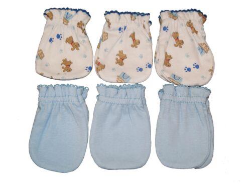 6 Cotton Newborn Baby//infant No Scratch Mittens Gloves Blue Mix Little Dog