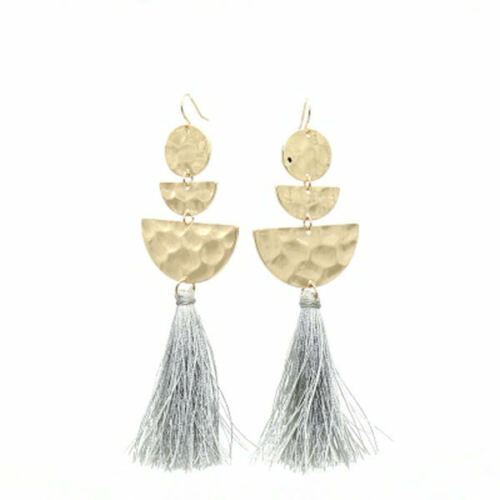 Plaqué or semi-circulaire pompons Drop Dangle Earrings EH1671