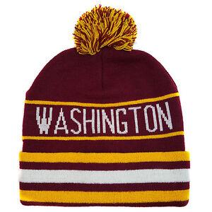 78d7c972 WASHINGTON DC (Maroon/Yellow) Pom Stripe Knit Beanie Cuffed Skull ...