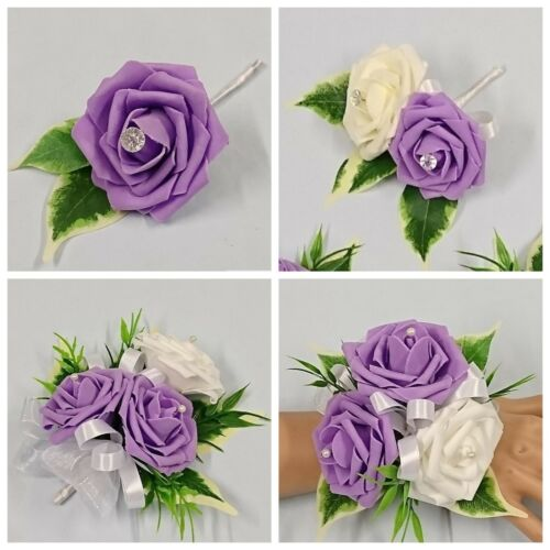 Baby Pink /& Baby Blue Wedding Buttonhole Flowers Single Double Ladies Corsage