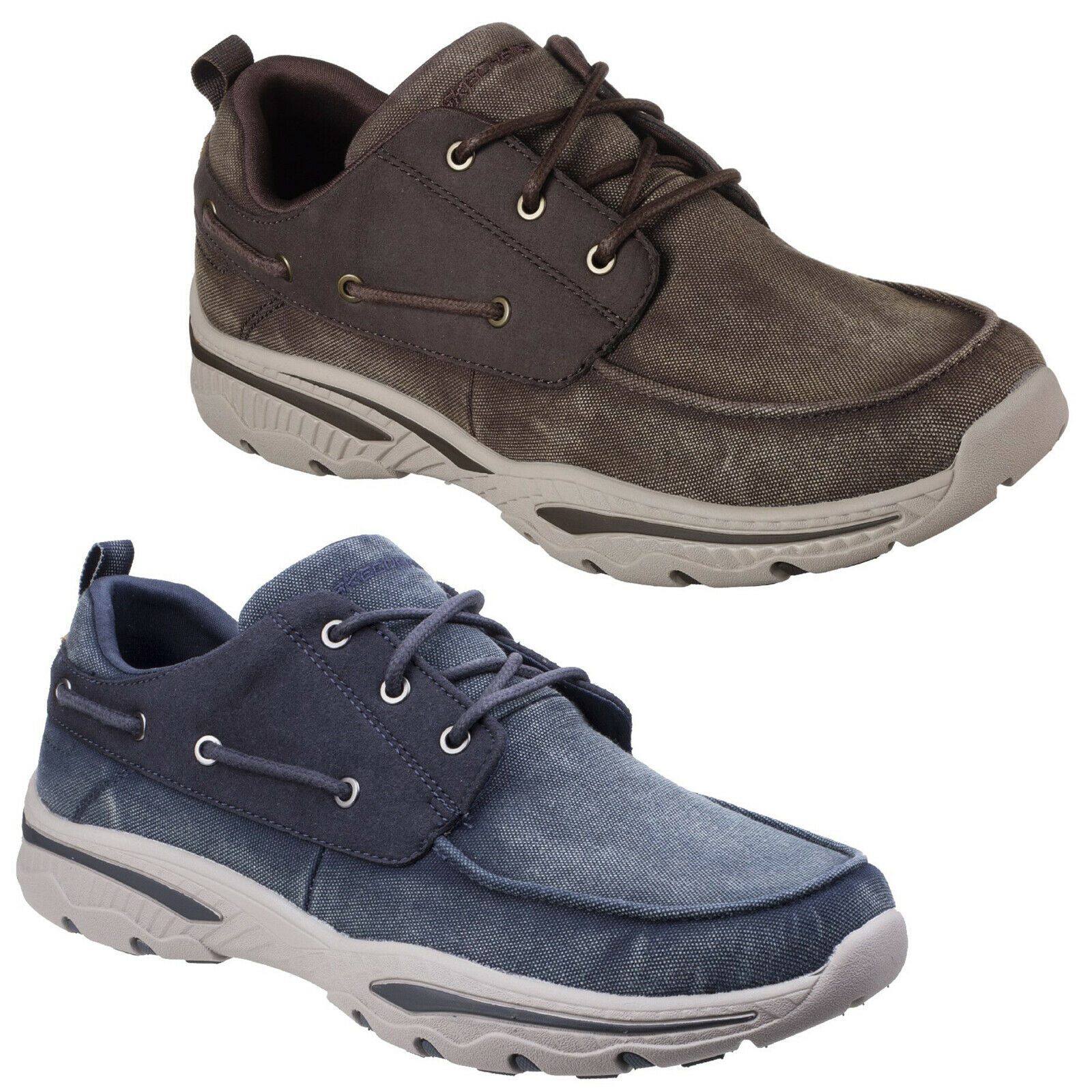 Skechers Creston Vosen shoes Memory Foam Canvas Lace Up Summer Boat Sneaker Mens