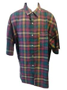 Vintage Authentic Rusty Button Up Short Sleeve Shirt Plaid 100% Cotton Mens XL