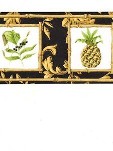 Formal-Gold-Scroll-On-Black-w-Pineapple-Bamboo-Square-Wallpaper-Border-AR77952