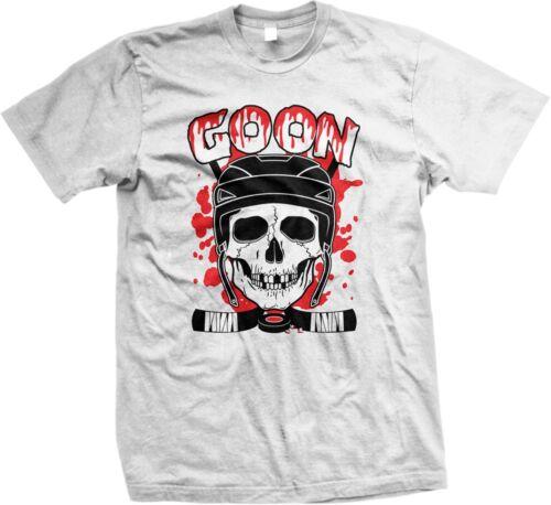 Men/'s T-shirt Goon Hockey Skull Cross Bones Puck Blood Hockey Sticks Funny
