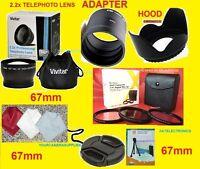 22pcs Set: 2.2x Telephoto Lens 67mm+ Adapter Nikon Coolpix P520 +hood+filters
