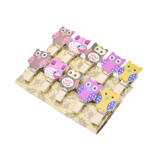 10 Mini Pegs Owl Wooden Craft Pegs Card Holder Photo Hanger Clothes Clip LE