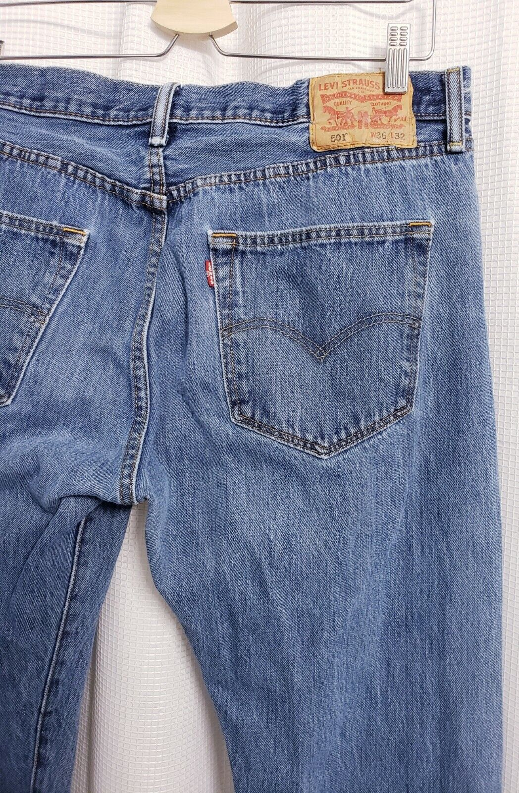 Levis 501 Original Fit Button Fly Distressed Jean… - image 6