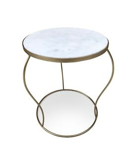 Marble Coffee Table Gold Leg Living Room Side Modern End Home Office