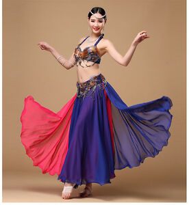 D775 Belly Dance Costume Outfit Set Bra Top Belt Dress Bollywood Carnival 3PCS