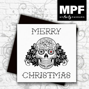 039-Sugar-Skull-039-hand-made-tattoo-style-Christmas-card-with-gem-stone-eye