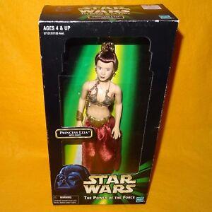 1999 Hasbro Star Wars Puissance De La Force Potf Princess Leia Avec Chaîne En Boîte