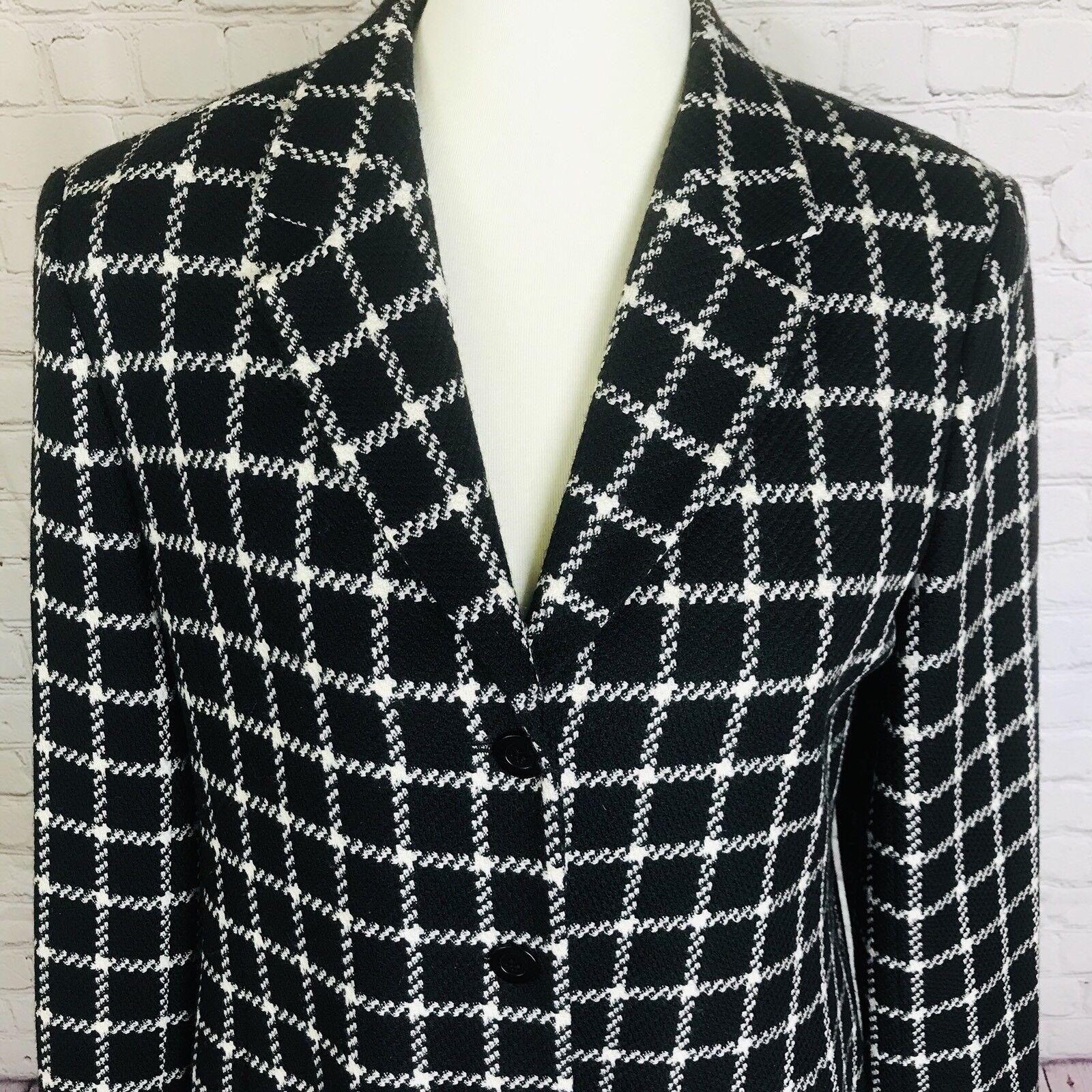 Talbots Women Wool Pea Coat Lined 3-button Black Ivory Windowpane Plaid Sz 8 L12