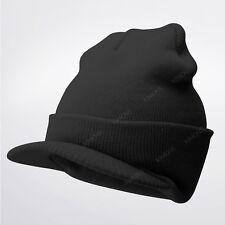 0118f1ee86c050 Bill Visor Cuff Beanie Knit Cap Hat Ski Thick Brim Warm Winter Unisex US  MADE