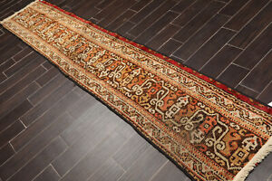 2-039-x-11-039-Hand-Knotted-Vintage-Turkish-Oushak-Wool-Area-Rug-Runner-Brown