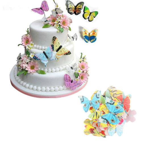 42pcs Mixed Butterfly Edible Glutinous Wafer Rice Paper Cake Decoration~