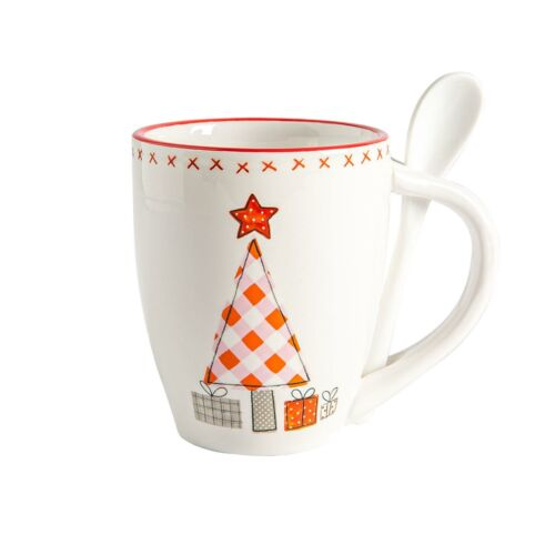 2x Christmas Mug and Spoon Novelty Festive Xmas Tableware 13cm Patchwork