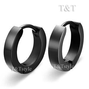 T-amp-T-Plain-Black-Stainless-Steel-Extra-Large-Hoop-Earrings-16mm-EH01D-4x12