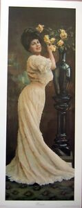 art-print-WYNETTE-tall-Victorian-lady-lace-dress-yellow-roses-vtg-repro-11x27