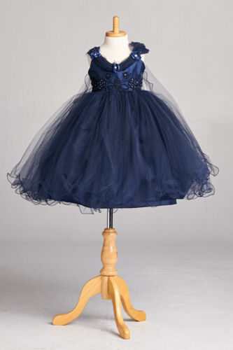 Navy Flower Girl Bridesmaids Pageant Recital Dress Tulle Wing Application  #33