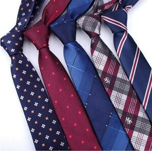 Fashion-Men-039-s-Necktie-Jacquard-Woven-Tie-Silk-Narrow-Wedding-Skinny-Slim-Necktie