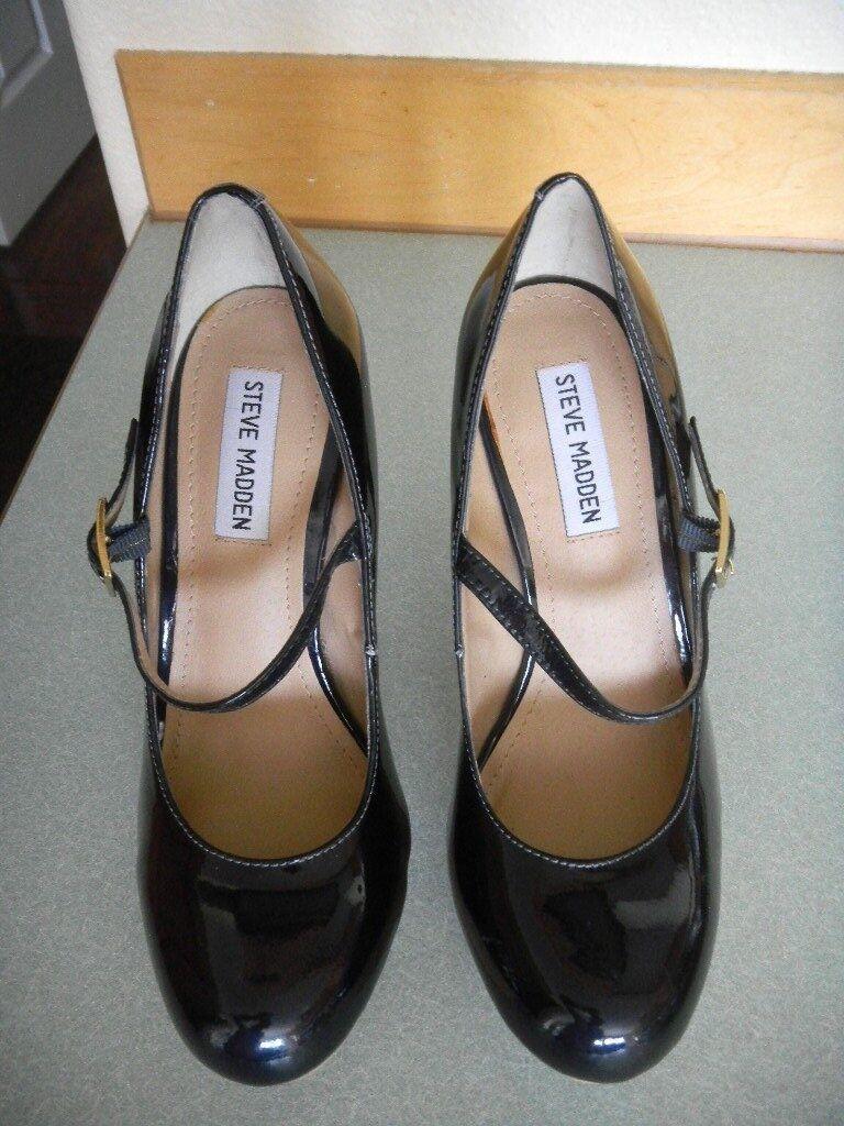 Steve Madden Black Black Black Patent Leather Platform Mary Jane 'Bellahh' High Heel Size 7. f3d99d