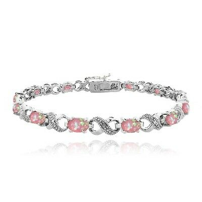 3ct Erzeugt Pink Opal & Diamant Akcent Infinity Armband