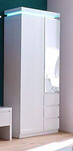 garderobenschrank 2 trg spiegel flurschrank dielenschrank weiss hochglanz neu ebay. Black Bedroom Furniture Sets. Home Design Ideas