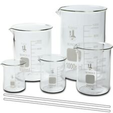 Glass Beaker Set With 2 Glass Stirring Rods 5 Sizes 50 100 250 500 And 1l