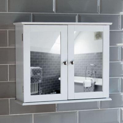 Milano Bathroom Mirror Wall Cabinet Double Doors Mirrored Cupboard Wooden White