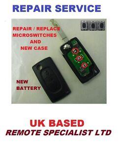 peugeot expert 3 button remote flip key repair service new case +
