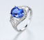 Damen-Ring ausdrucksstarke Ring Sterling Silber 925 Edelstein Tansanit