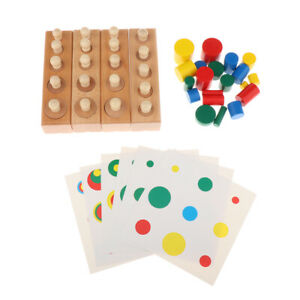 Holz-Montessori-Zylinder-Sockel-Form-Farbabstimmung-Spielzeug-Kinder