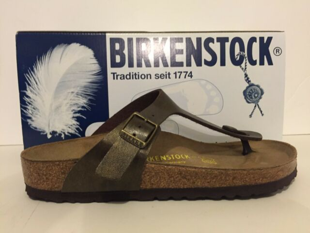 9413c988faf4 Womens Birkenstock Gizeh Thong Sandals Birko Flor Golden Brown Leather  143941 38