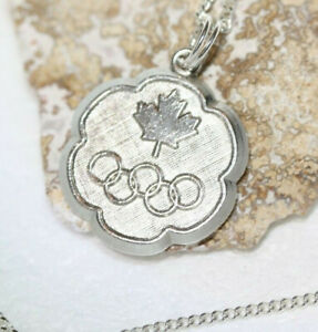 Glam-Canada-Round-Olympics-Medallion-925-Sterling-Silver-Necklace-18-034-Link-Chain