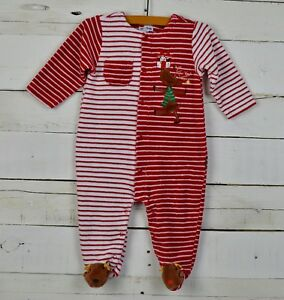75dd0539c Details about Infants LE TOP Sz 6m Red White Stripe One Piece Velour Footed  Romper Christmas